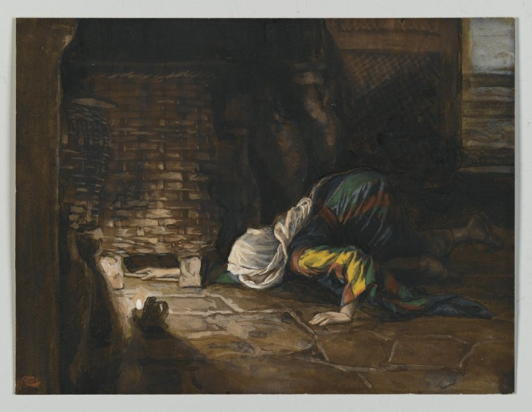 The housewife searches for her lost coin