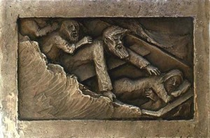 """""""The Storm at Seat."""" Detail from bronze Celtic Cross by C. Malcolm Powers"""